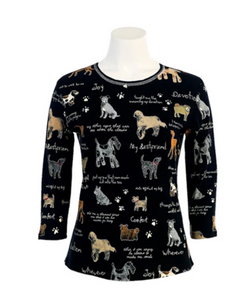"BESTSELLER! Jess & Jane ""My Best Friend"" For Dog Lovers Top in Black/Multi with Rhinestones 14-244BK"
