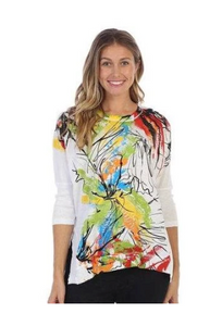 "NEW - Jess & Jane ""Lily"" Abstract Print Mineral Washed Cotton Top in Multi - M15-1203"