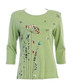 "Jess & Jane ""Busy Bees"" Floral Print Cotton Top - 14-1457"