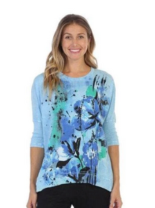 "NEW - Jess & Jane ""Morning Glory"" Mineral Washed Rib Sleeve Top in Sky Blue/Multi - M15-1323"