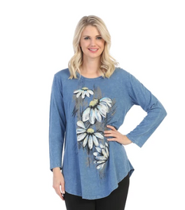 "Jess & Jane ""Lucy"" Floral Mineral Washed Tunic Top - M28-1454"