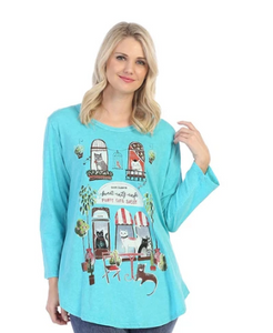 "NEW - Jess & Jane ""Cat Cafe"" Mineral Washed Top - M28-1465"
