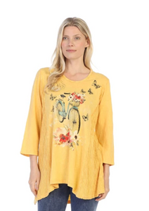 "NEW - Jess & Jane ""Maybe"" Bicycle, Flowers & Butterfly Print Tunic - M55-1312"