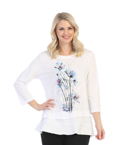"NEW - Jess & Jane ""Felicity"" Floral Print Layered Tunic Top - M66-1452"