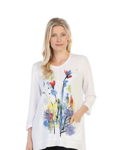"NEW - Jess & Jane ""Two Beauty"" Floral Print High-Low Tunic Top - LT1-1353"