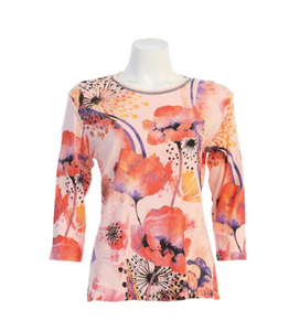 "Jess & Jane ""Poppy Hills"" Floral Print Top in Pink - 14-1488-PLPK"