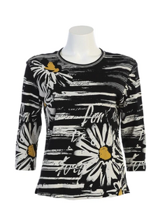 "NEW - Jess & Jane ""Daisy Poem"" Floral Print Top in Black/White/Yellow - 14-1157BK"