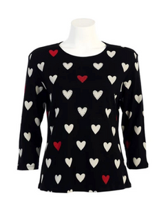 "NEW - Jess & Jane ""Hearts"" Babyrib Cotton Top in Black - 14859"