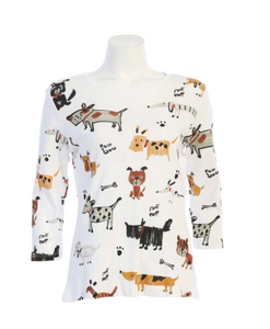 "NEW - Jess & Jane ""Critters"" Dog Lovers Print Cotton Top in White - 14-1442-WT"