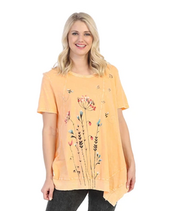 "NEW - Jess & Jane ""Busy Bee"" Mineral Washed Asymmetric Tunic in Tangerine - M61-1457"
