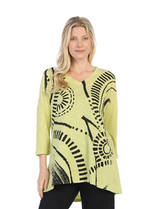 "Jess & Jane ""Travel"" Cotton Slub High-Low Tunic in Citrus/Black - CS5-1319 - M ONLY"