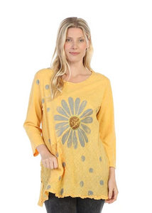"NEW - Jess & Jane ""Happy Days"" Mineral Washed Tunic with Linen Contrast - M62-1361"
