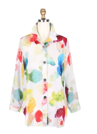 Damee Watercolor Gemstone Shirt in Multi/White - 7052-WHT