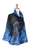 Damee Splattered-Abstract-Print Light Chiffon Jacket in Blue/Multi - 4635-BLU