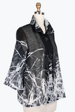 Damee Splattered-Abstract-Print Light Chiffon Jacket- 4635-BLK