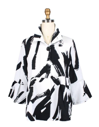 Damee NY Brushstroke-Print Short Jacket in White/Black - 4620-WHT