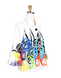 Damee Abstract Swirl Button Front Jacket in Multi/White - 4623-WHT