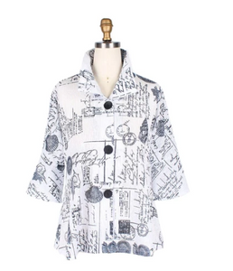 Damee Seashell Print Sheer Button Front Jacket in White & Black - 4630-WHT