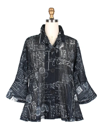 Damee Seashell & Postcard Print Button Front Jacket in Black/White - 4630-BLK