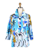 Damee Abstract Print Button Front Jacket in Blue/Multi - 4615-BLU