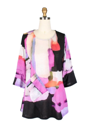 Damee Colorblock Lightweight Knit Tunic in Pink/Multi - 9167-PNK