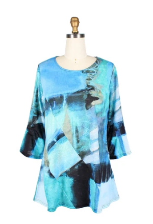 Damee Colorblock Lightweight Knit Tunic in Turquoise/Multi - 9168-TRQ