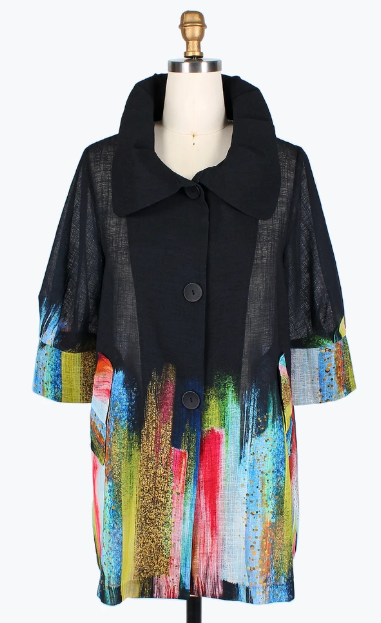 Damee Colorful Brush Stroke Swing Jacket-4609-BLK