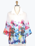 Damee Watercolor Flower Linen Short Jacket-4614-BLK