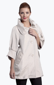 Damee NYC Shimmery Signature Swing Jacket-200-PEARL WHITE