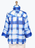 Damee NYC Checkered Button Front Jacket - 4621-BLUE