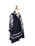 Damee Scribble Print Cowl Neck Tunic in Black/White - 9174-BK