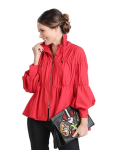 IC Collection Zip Front Cinched Parachute Jacket-1395J-RED