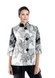NEW - IC Collection Button Front Floral Print Jacket in White/Black - 3022J-WHT