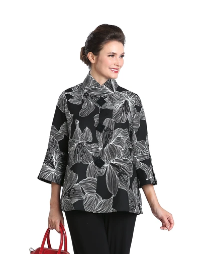 NEW - IC Collection Button Front Floral Print Jacket in Black/White - 3022J-BLK