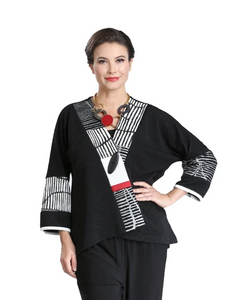 NEW - Mixed Print High-Low Jacket in Black/White/Red - 2309J-BLK