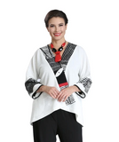 NEW - Mixed Media High-Low Jacket in White/Black/Red - 2309J-WHT