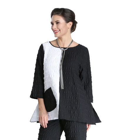 NEW - IC Collection Fit & Flare Crinkle Textured Tunic in Black & White - 2331T