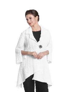 NEW - IC Collection Fit & Flare Crinkle Jacket in White 2324J-WHT