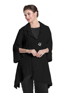 NEW - IC Collection Fit & Flare Crinkle Jacket in Black 2324J-BLK