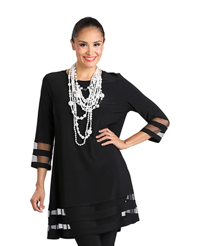 NEW - IC Collection Mesh Trim Tunic in Black - 2517T-BLK