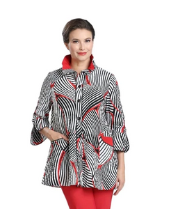NEW - Mixed Stripe Button Front Shirt in Red/White & Black - 2342J