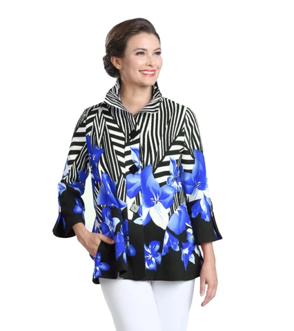 NEW - IC Collection Tropics Stripe Button Front Jacket in Blue - 2368J-BLU