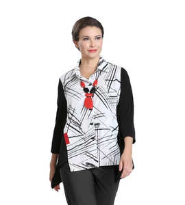 NEW - IC Collection Mixed Print & Solid Button Front Shirt- 2303B-WHT