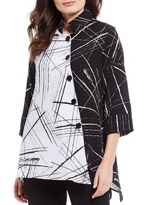 NEW - IC Collection Top Black & White Diagonal- 2316J-BLK