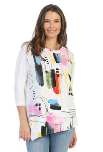 "Jess & Jane ""Dreaming"" Abstract Print Mineral Washed Cotton Tunic Top in White - M41-1480"