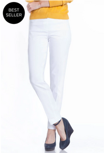 ANKLE Women's Wide Band Pull On Pant with Tummy Control (M2623P)-WHITE