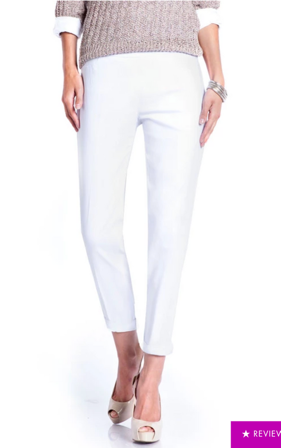 LONG/Narrow with POCKETS Women's Wide Band Pull-On Straight Leg Pant With Tummy Control (M2684P)-WHITE
