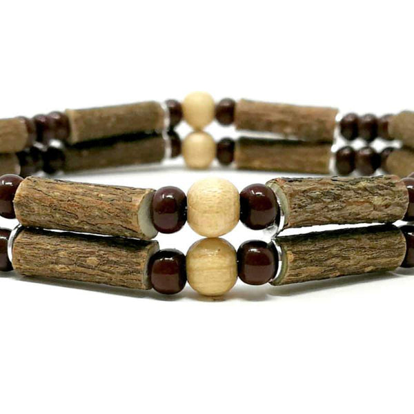 D20 | Naturel et brun | Bracelet de noisetier double