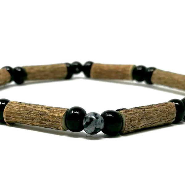 S11 | Obsidienne flocon | Bracelet de noisetier simple