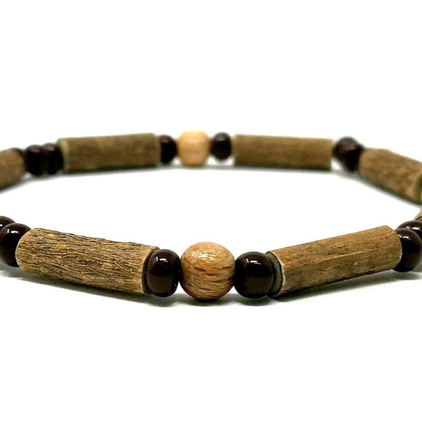 S20 | Naturel et brun | Bracelet de noisetier simple